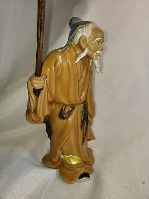 "Vintage Chinese man walking wstick mudman figurine  multi glaze 8""  Earthenware"