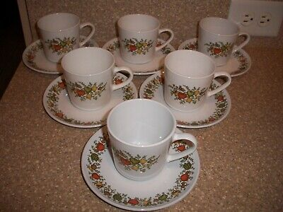 Vintage Centura by Corning Spice of Life Lot of 6 cup/saucer sets