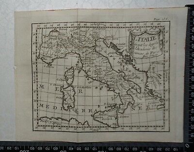 1758 - Italy Map,  P Buffier ,Geographie Universelle - Sculptured Faure