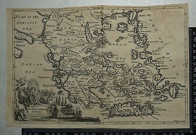 1747 Antique Map of Ancient Greece with the Islands adjoyning to it, by E. Bowen
