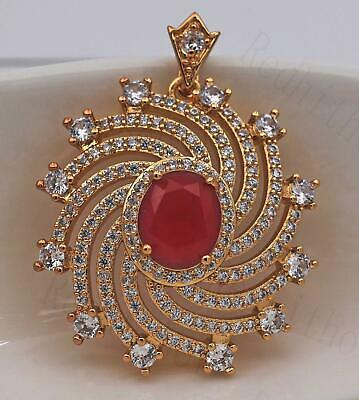 18K Gold Filled- Big Hollow Swirl Windwill Multilayer Ruby Topaz Gems Pendant DS