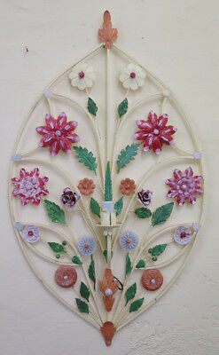 Wall Light Vintage Wrought Iron with Flowers Hand Made Wall Light