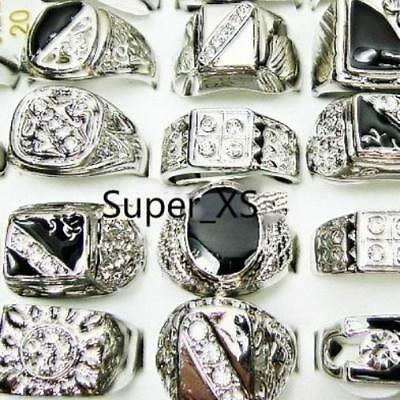 25pcs Wholesale MIx Color Nature Stone Alloy Rings Silver Plated Jewelry Lots BF
