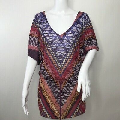 165633b991ec4 Prana Saida Boho Aztec Print Short Sleeve Multicolor Swim Cover W1SAID116  Small