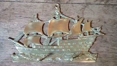 Vintage Brass Key Rack In The Form Of A Galleon In Full Sail