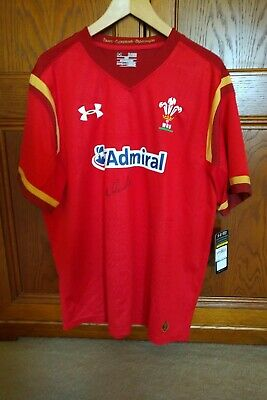 Wales rugby shirt signed by Sean Edwards. Size XL