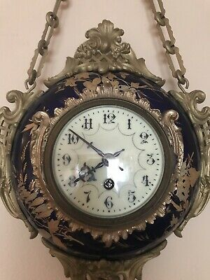 Antigue French Limoges Eugene Farcot Porcelain Gilded Ormolu Cartel Wall Clock