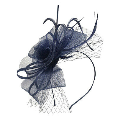 Mesh Flower Feather Fascinator With Net Detachable Headband And Clip