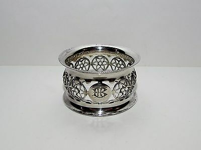 Antique Ornate Solid Silver Gothic Napkin Ring by Charles Harris 1904