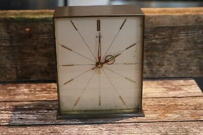 vintage Art Deco smiths tempora brass rectangle mantle clock 16cm x 13cm