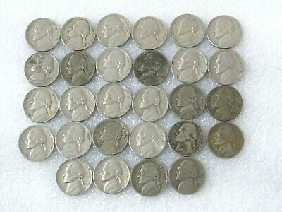 Lot of 28 Collectible Old Jefferson Nickels 1940s 1950s 1960's 1970 Nickle