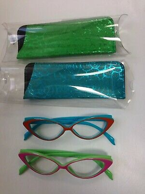 598117d86 Womens CAT EYE Style READING GLASSES READERS Pink & Green * Blue & Orange  2.00