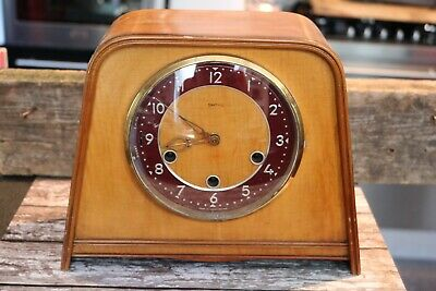vintage Art Deco smiths walnut mantle clock 24cm H 28CM Widest point