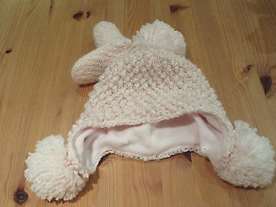 Next baby girls lined pom pom hat & mitts set pink & sparkly BNWT 3 - 9 months
