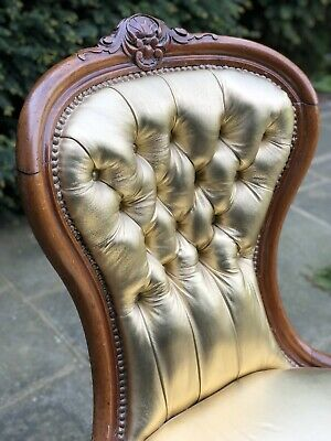 Magnificent Mahogany Victorian Occasional Nursing / Ladies Chair in Gold Leather