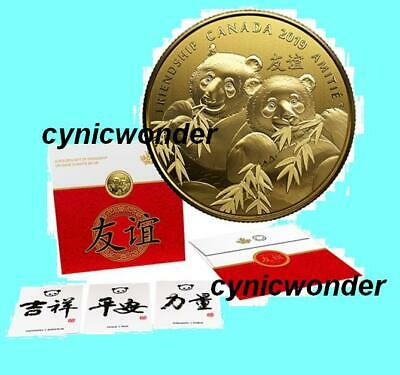 2019 Canada Pandas Pure Silver Gold-Plated Coin Golden Gift Friendship *in stock