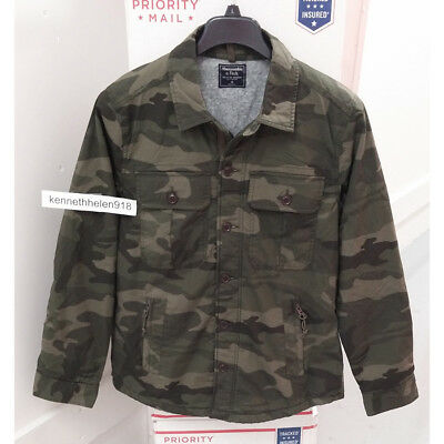 28f0c9af53d1b ABERCROMBIE & FITCH Mens Military Shirt Jacket Green Camo Size M,L ...