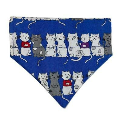Over the Collar Cat Bandana, Reversible Blue Cat 100% Cotton One size