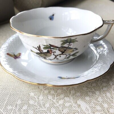 Beautiful Herend Rothschild tea cup with saucer - Birds, Insects, EUC!