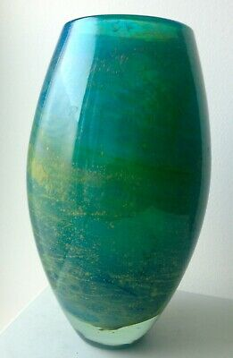 Mdina, signed, 7 inch, blue and sea green glass vase from Malta