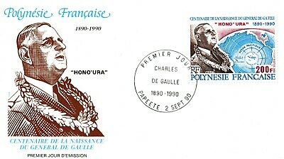 France Stamp 'General De Gaulle 1990 FDC 100th Anniversary French Polynesia