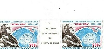 1990 France Stamp 'General De Gaulle'  French Polynesia Anniversary of birth x2
