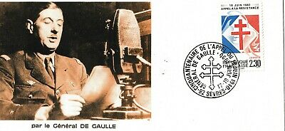 1990 France Stamp FDC 'General De Gaulle'  18 june 1949 ww2 Anniversary no2