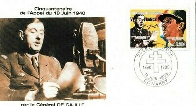 1990 France Stamp FDC 'General De Gaulle'  18 june 1949 ww2 Anniversary no1