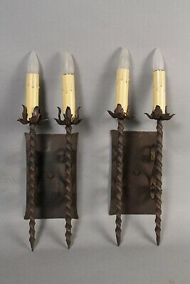 Antique Pair Of Double Wrought Iron Spanish Revival Gothic Tudor Sconces 11837