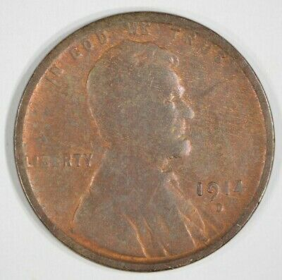 1914-D Lincoln Wheat Cent 1c Key Date Very Good VG Details Cleaned