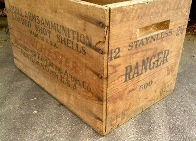 Antique Winchester Small Arms Ammunition Wood Ammo Boxcrate