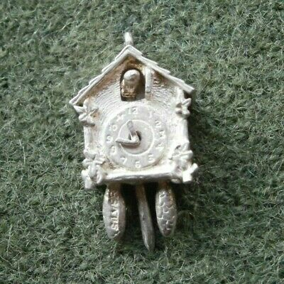 Vintage Sterling Silver Articulated Cuckoo Clock Charm ~ 2.7g ~ Moving Parts