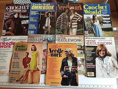 Lot 10 Vintage Crochet Needlework Magazines Knitting Embroidery Patterns 1972-82