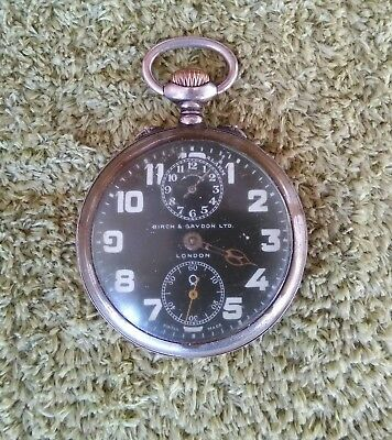 Fantastic Black Militar Zenith Alarm Pocket Watch By Birch &  Gaydon Ltd London