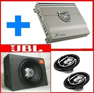 Impianto Car Hifi 1000 Watt Amplificatore +Box Jbl Gt5-12 Subwoofer+Altoparlanti