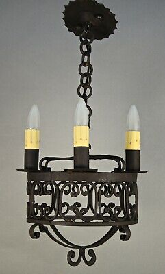Antique Worught Iron Chandelier Moorish Spanish Revival Tudor Gothic (11826)