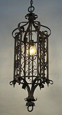 Antique Large Wrought Iron Pendant  Spanish Revival Gothic Tudor Light (11825)