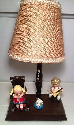 Swiss child's wooden wind up musical lamp