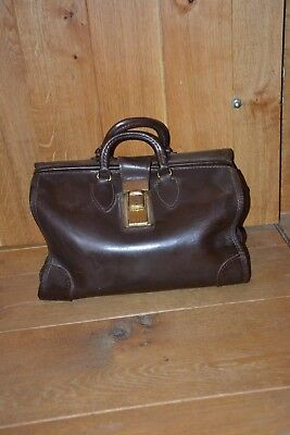 Vintage Ford Motor Co doctors bag briefcase brown leather Made in Germany