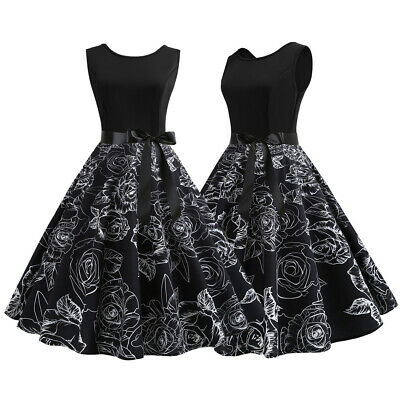 Womens 50s 60s Style Vintage Rockabilly Floral Pinup Swing Evening Party Dress