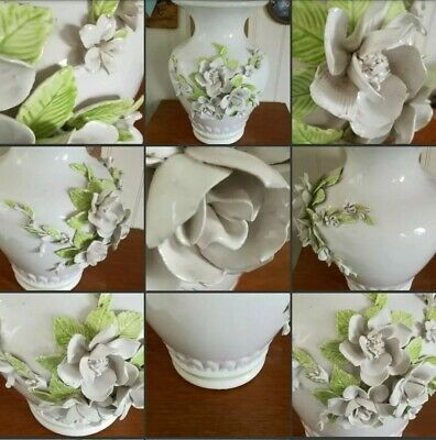 *Used* Beautiful Large Vintage Curvey White China Floral Vase 3D Flowers Petals