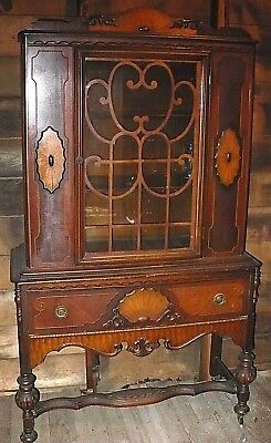 Antique China Cabinet Curio Ornate Woodwork Early 1900's ? Superb Craftsmanship