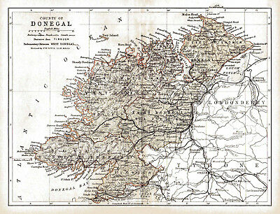 An enlarged 1897 map of County Donegal, Ireland