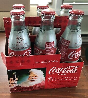 2006 Christmas Cola Cola Santa Clause 6.5 Ounce Full 6 Pack Of Glass Bottles