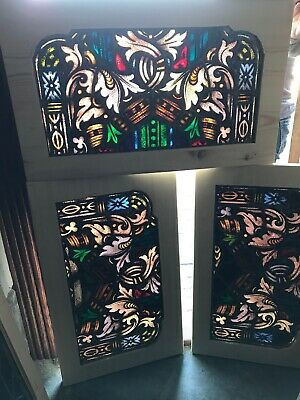 Sg 2955 8 Av Price each Antique Painted in fired stained glass transom window 18