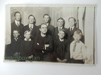 Vintage Real-Photo Postcard Priest And Young Group Early Twentieth Century Bwdev