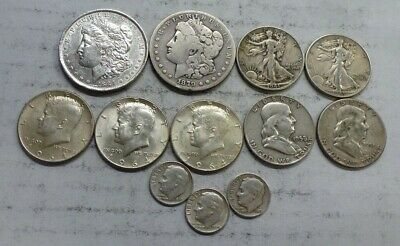 Mixed Lot of 90% Silver Coins - Morgans, Walker/Franklin/Kennedy Halves, Dimes