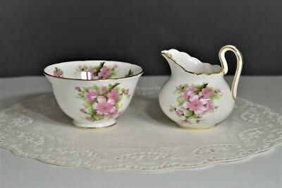 Royal Chelsea English Bone China Mini Creamer Open Sugar Bowl Pink Apple Blossom