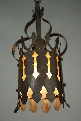 Antique Small Iron Pendant w Mica Spanish Revival  Tudor Gothic Light (11851)