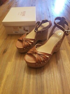 b537d91316 New Women's Mossimo Cognac Erie Wood Flatform Cork Style Wedge Sandals Size  6.5